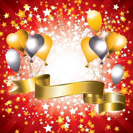 Shiny celebration banner with gold and silver balloons