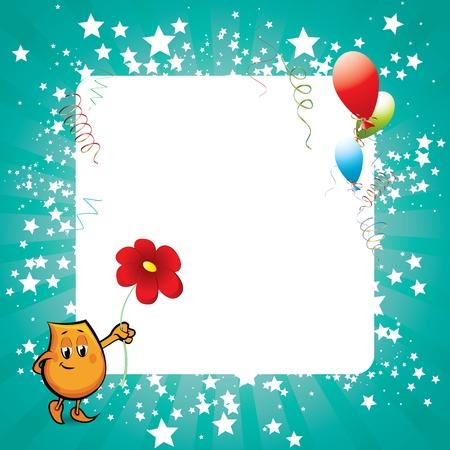 star mascot: Shiny blue celebration card with rays, stars and happy blinky