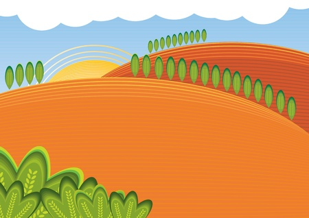 Summer day rural sunny landscape Stock Vector - 9622117