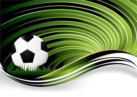 Green wavy soccer background, vector illustration