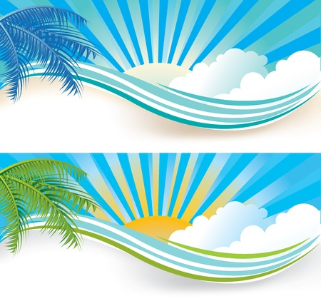 header label: Summer banner set, vector illustration
