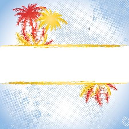 Splatter summer banner with palms, vector illustration