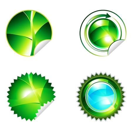 Green eco shiny sticker with leaf elements icon collection, eps10 vector illustration Vector