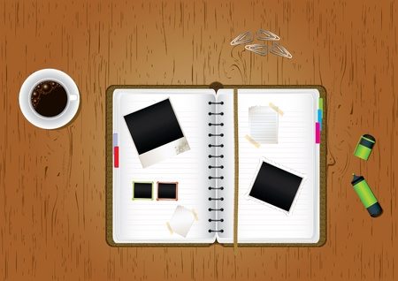 office desktop: Office desktop. Scrapbook, cup of coffee, blank paper, marker and paperclips on wooden office desktop, vector illustration Illustration