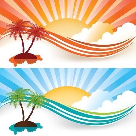 palmtrees: Conjunto de banner de verano, ilustraci�n vectorial