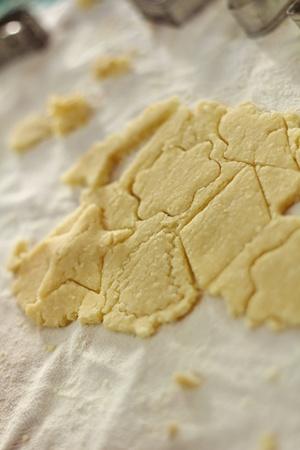 shaped cut dough on the table - shallow DOF photo