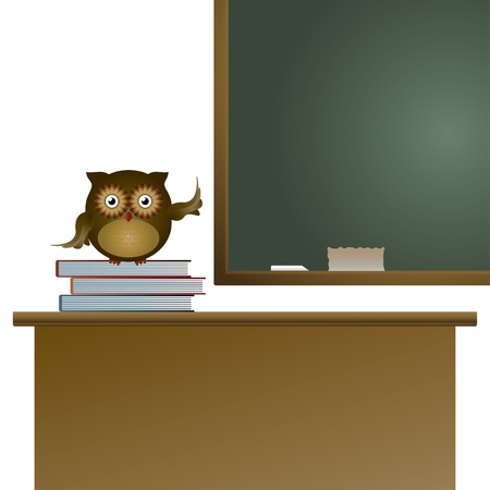 college professor: Owl in the classroom sitting on the books and pointing on the blackboard, vector illustration