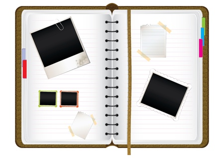 Scrapbook diary with empty photo frames and notes, vector illustration Vectores
