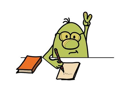 Personaje roundy, respondiendo a la pregunta y la escritura, la ilustración vectorial