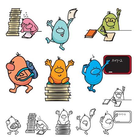 leaving: Roundy cartoon karakter school set kleur en lijn art, vectorillustratie