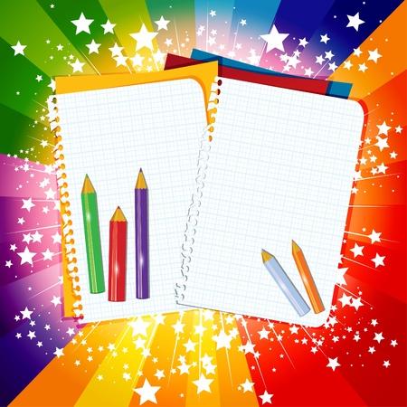 fournitures scolaires: Retour à l'école arc-en-fond Illustration