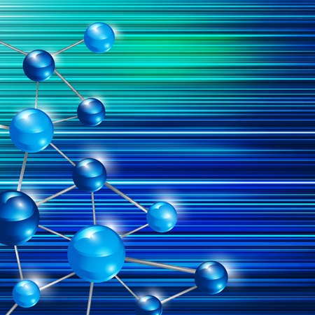 Futuristic blue molecule background  Illustration