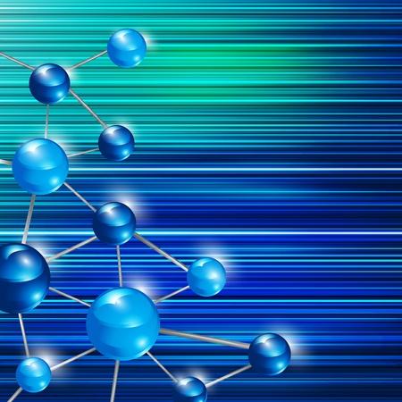 Futuristic blue molecule background  Illustration