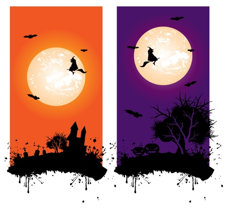 Halloween banners with separate silhouette elements illustration Vector