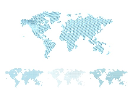 World map halftone set, four different versions with perfect shapes, illustration Vectores