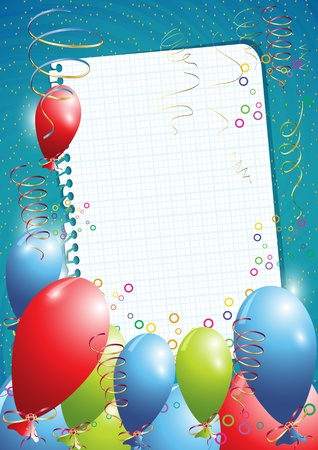Blue birthday background with balloons and empty paper Stock Vector - 10843890