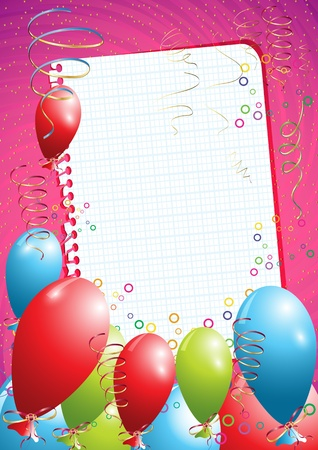 colored balloons: Pink birthday background with balloons and empty paper