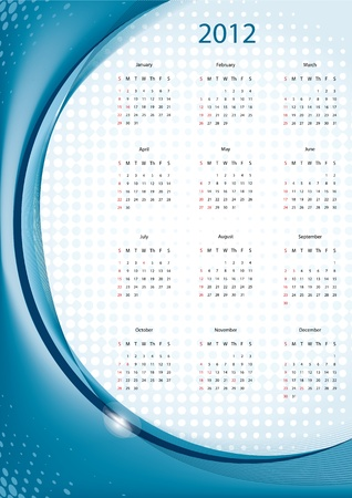 Blue elegant calendar 2012, week starts with sunday Vectores