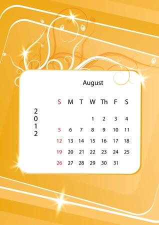 august calendar: Agosto del calendario 2012, la semana comienza con el domingo