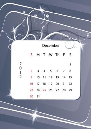December calendar 2012, week starts with sunday Stock Vector - 10843883