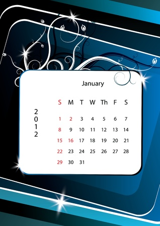 January calendar 2012, week starts with sunday Vector