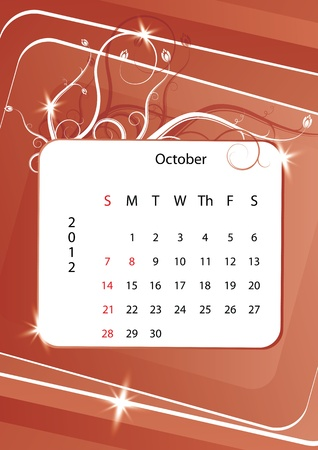 October calendar 2012, week starts with sunday Stock Vector - 10843875