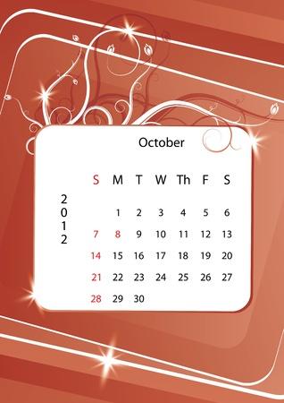 October calendar 2012, week starts with sunday Stock Vector - 10843875