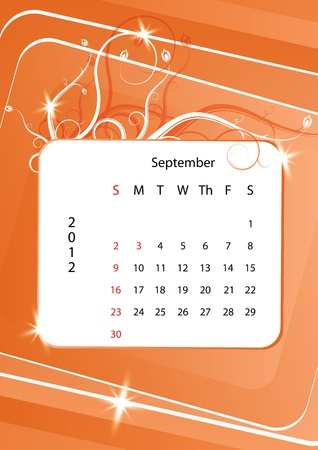 september calendar: September calendar 2012, week starts with sunday Illustration