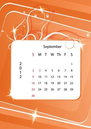 calendario septiembre: Septiembre del calendario 2012, la semana comienza con el domingo Vectores