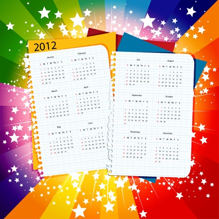 Paper calendar 2012 on star burst background, week starts with sunday Vectores