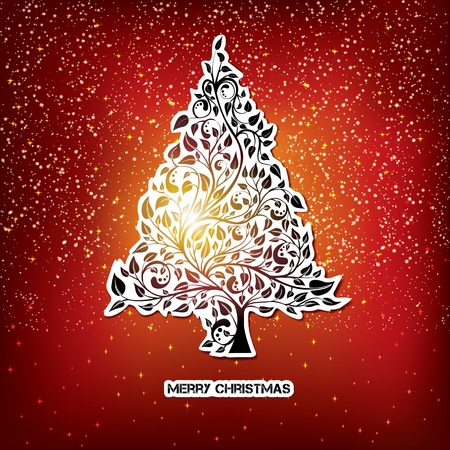 Christmas card with pine tree drawing at paper sticker, eps10 vector illustration Vector