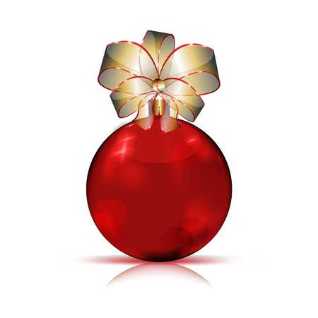 modern christmas baubles: Christmas red bauble with big gold bow,
