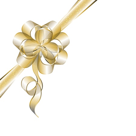 corner ribbon: Transparent golden bow isolated on white