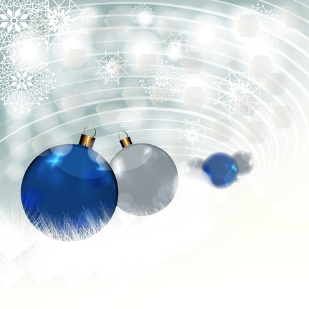 Blue and silver baubles in snow, illustration illustration