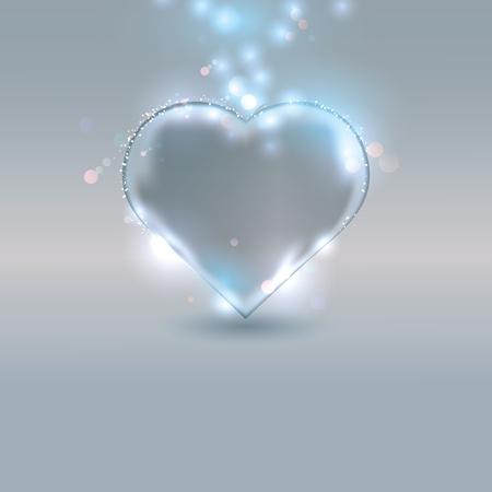 Herz aus Glas auf silbernem Hintergrund. Vektorgrafik