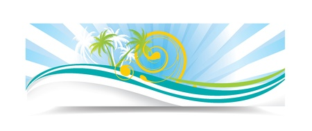 Summer banner with palms, illustration Illustration