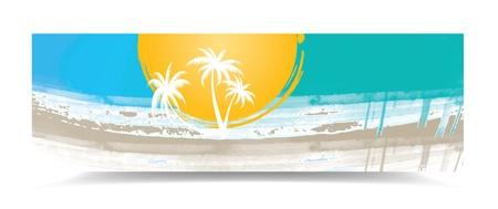 Summer banner with palm trees, illustration Illustration
