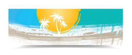 header label: Summer banner with palm trees, illustration Illustration