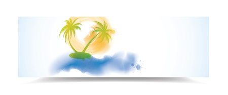 Watercolor summer banner with palm trees, illustration Vector