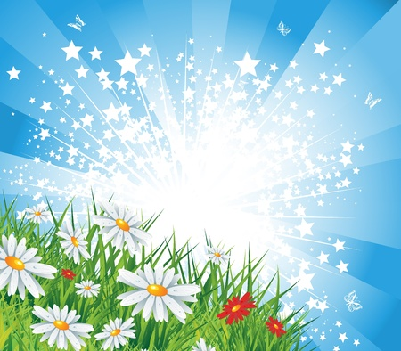 Summer landscape with star burst, eps10 vector illustration Vector