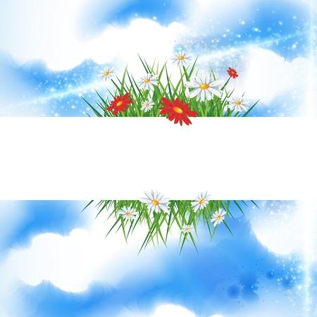 与明亮的蓝天的夏天横幅