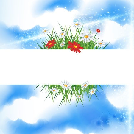 Summer banner with bright blue sky