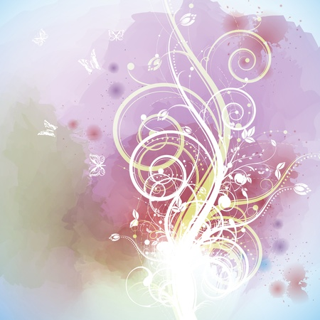 Watercolor background with floral Vector
