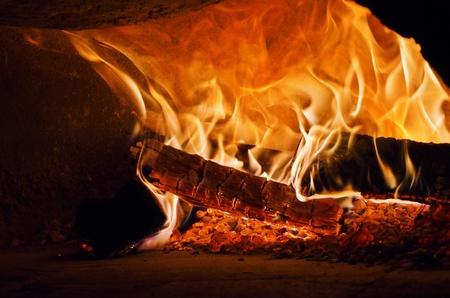 traditional Italian pizza wood oven, fire detail photo