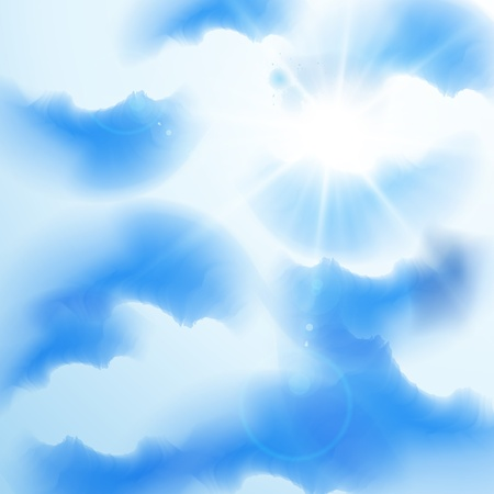 Cloudy summer sky with rays of sun, eps10 vector illustration Vector