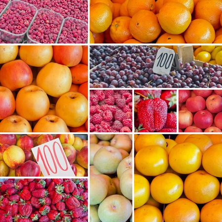 Digital collage of fruits on farmers market, natural organic food photo