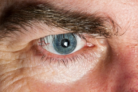 Blue Eye of mature man, close-up horizontal shot Stock Photo - 13640431