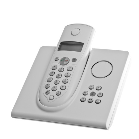 answering call: white cordless telephone with answering machine isolated over white background Stock Photo