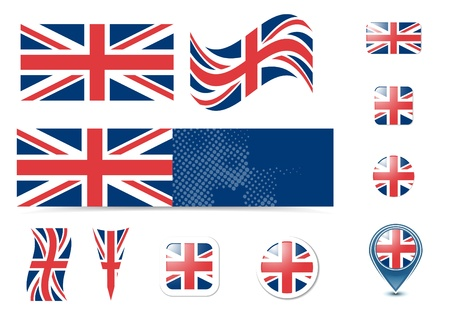 United Kingdom flag and buttons set Vector