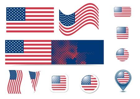 bandiera inglese: Stati Uniti d'America bandiera e pulsanti impostati Vettoriali